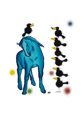 Schwarzer Rabe auf blauem Pferd MFKD933